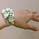 """Свадебные украшения ручной работы. Ярмарка Мастеров - ручная работа. Купить браслет """"кружево и жасмин"""". Handmade. Белый, браслет с жасмином"""