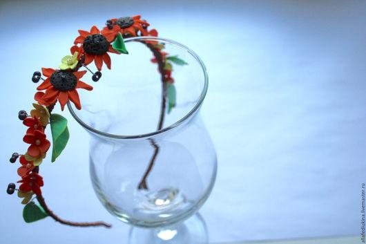 Диадемы, обручи ручной работы. Ярмарка Мастеров - ручная работа. Купить Ободок с подсолнухами. Handmade. Оранжевый, цветы, бисер фарфаль