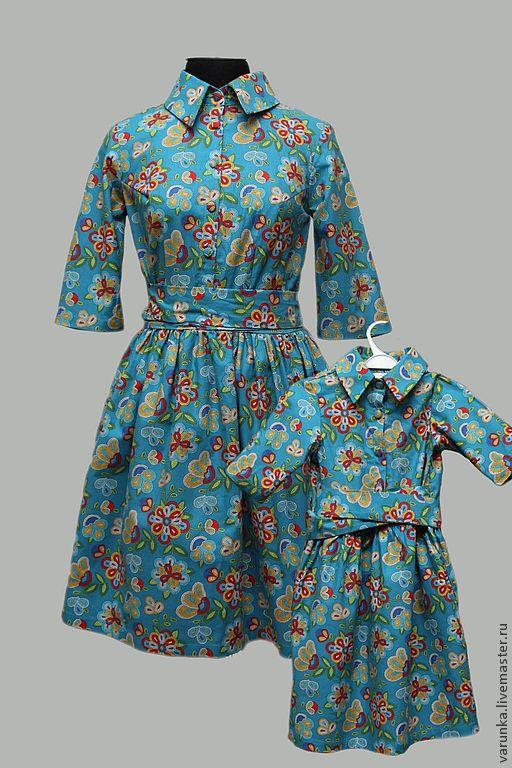 """Платья ручной работы. Ярмарка Мастеров - ручная работа. Купить Комплект мама + дочка """"Бирюза"""". Handmade. Бирюзовый"""