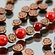 Бусины металлические Таблеточки литые формы диск диаметром 6 мм с этническим орнаментом и покрытием античная медь\r\nПример сочетания с бусинами диаметром 8 мм