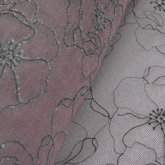 Тюль для штор с люрексом - цвет вялой розы