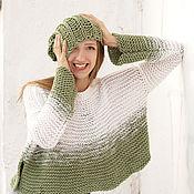 Одежда ручной работы. Ярмарка Мастеров - ручная работа Бело-зеленый кроп-топ джемпер крупной вязки. Handmade.