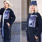 Одежда handmade. Livemaster - original item Blueberry long coat, Oversized coat, fur lined coat, women`s coat. Handmade.