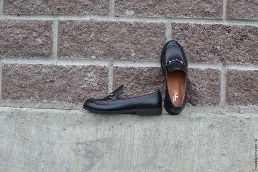 Обувь ручной работы. Ярмарка Мастеров - ручная работа. Купить Туфли кожаные с фурнитурой. Handmade. Черный, натуральная кожа