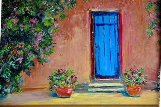 Картина маслом. Испанский дворик. Дверь.