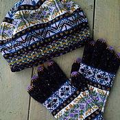 Аксессуары handmade. Livemaster - original item tweed knit set of beret and gloves. Handmade.