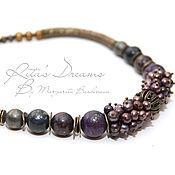 Украшения handmade. Livemaster - original item Necklace Blueberry with chocolate, choker, women`s, short beads, pearls, Jasper.. Handmade.