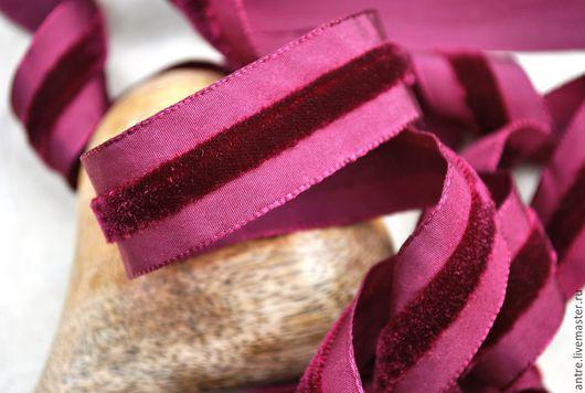 Шитье ручной работы. Ярмарка Мастеров - ручная работа. Купить Лента с бархатной полосой Бордо (Франция). Handmade. Лента