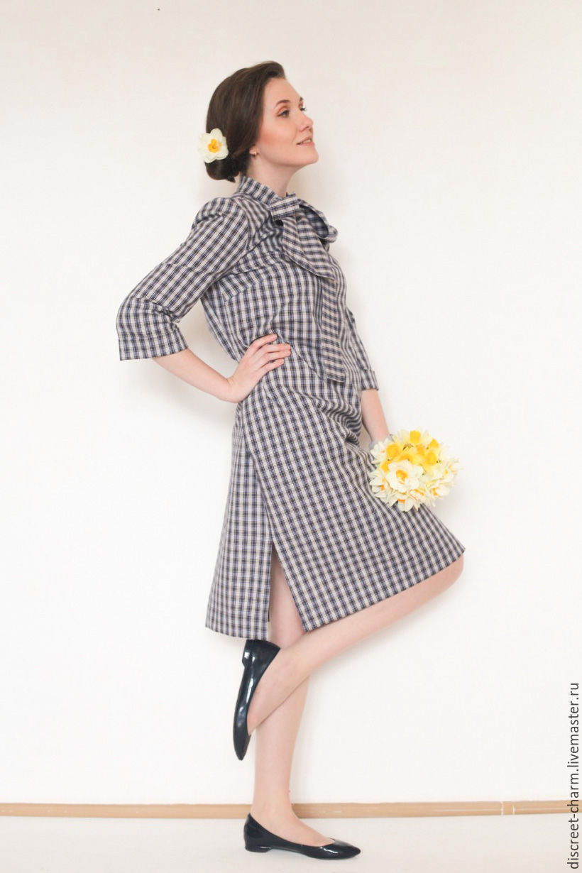 Платья ручной работы. Ярмарка Мастеров - ручная работа. Купить Хлопковое летнее платье в клетку, с рукавом, бантом и карманами. Handmade.