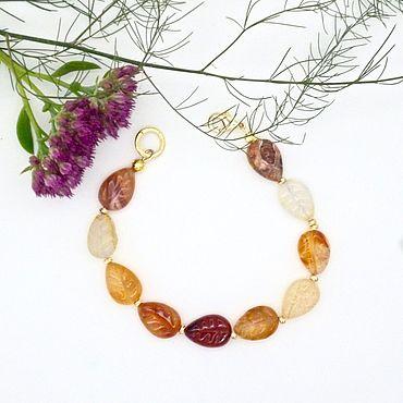 Decorations handmade. Livemaster - original item Bracelets: Leaves carnelian, gold plated. Handmade.