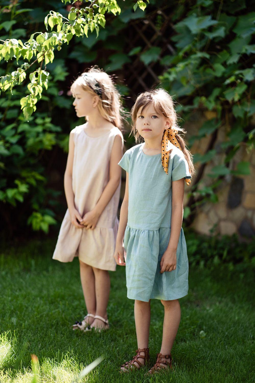 Одежда для девочек, ручной работы. Ярмарка Мастеров - ручная работа. Купить Льняное платье « Бирюзовое». Handmade. Детское платье