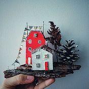 Статуэтки ручной работы. Ярмарка Мастеров - ручная работа Композиция из деревянных домиков. Handmade.
