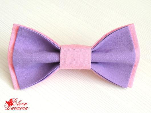 Галстуки, бабочки ручной работы. Ярмарка Мастеров - ручная работа. Купить Бабочка галстук розово-сиреневая, хлопок. Handmade. Сиреневый