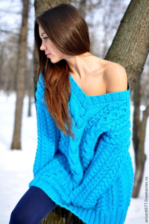 """Кофты и свитера ручной работы. Ярмарка Мастеров - ручная работа. Купить свитер женский """"Теплая Грация"""". Handmade. Тёмно-бирюзовый"""