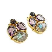 Украшения handmade. Livemaster - original item Earrings with amethyst, labrador and smoky quartz, earrings gift. Handmade.