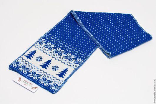 """Шарфы и шарфики ручной работы. Ярмарка Мастеров - ручная работа. Купить Шарф """"Новогодние олени"""" синий. Handmade. Подарок"""