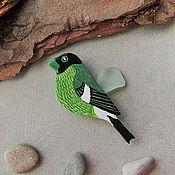 Украшения ручной работы. Ярмарка Мастеров - ручная работа Брошь зеленая птица, брошка птичка. Handmade.