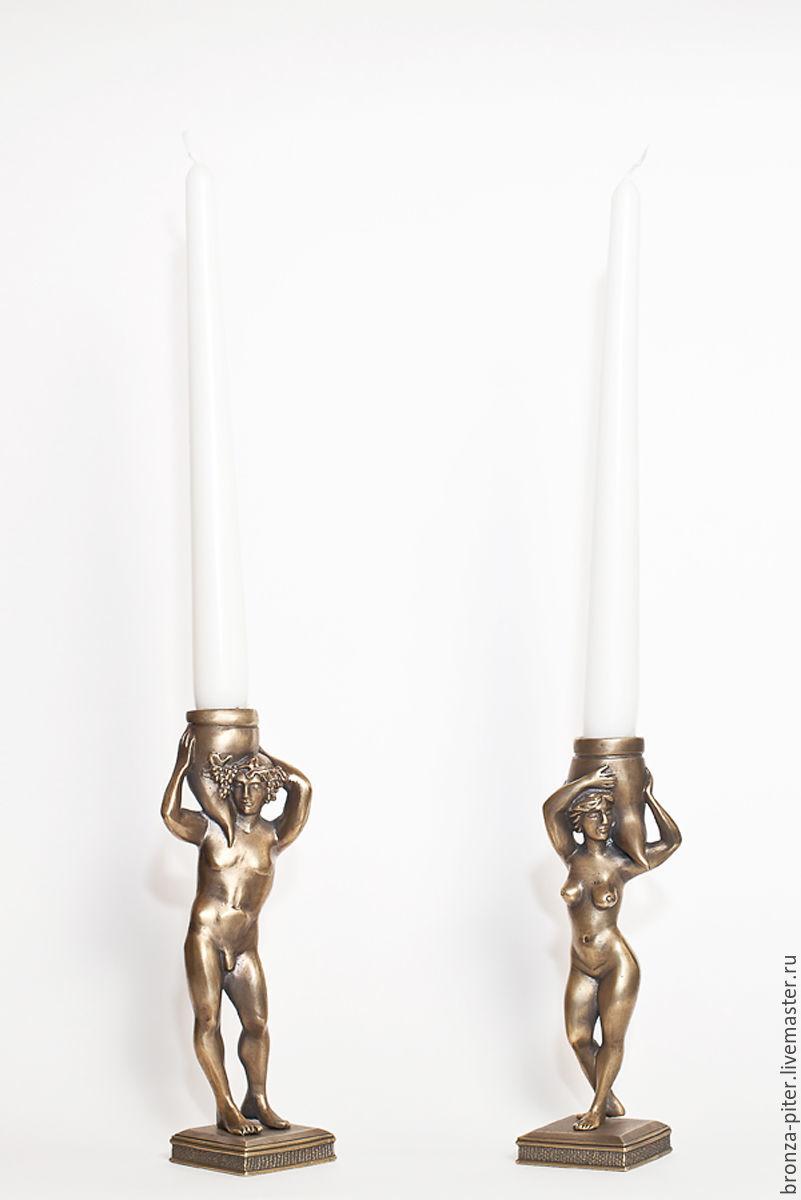 Adam and eve candlesticks bronze, Candlesticks, St. Petersburg,  Фото №1