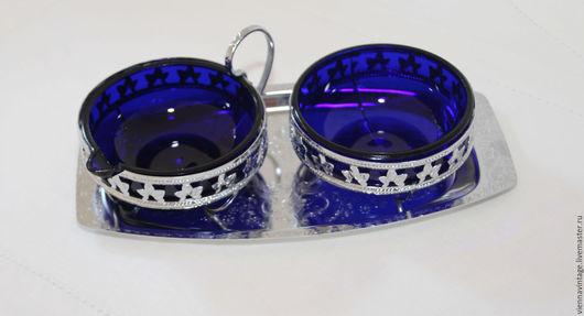 Винтажная посуда. Ярмарка Мастеров - ручная работа. Купить Набор для сервировки стола. Handmade. Тёмно-синий, Декор, стекло