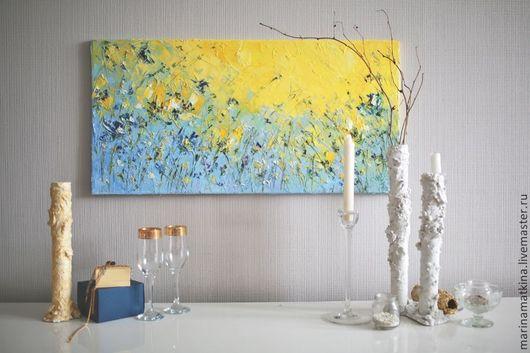 современные художники России, современные импрессионисты, объемная фактурная рельефная живопись, картина маслом на холсте с подрамником с цветами, мастихин, картина для зала в квартире, фиолетовая жел