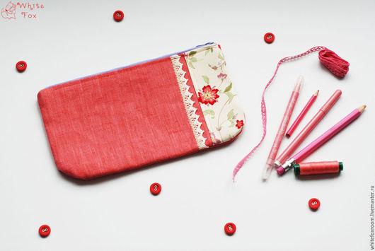 Женские сумки ручной работы. Ярмарка Мастеров - ручная работа. Купить Косметичка из льна. Handmade. Коралловый, хлопок, шебби-шик