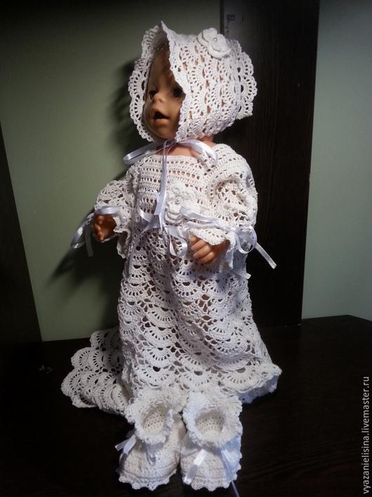 Для новорожденных, ручной работы. Ярмарка Мастеров - ручная работа. Купить Крестильный комплект для девочки. Handmade. Белый, крестильный комплект