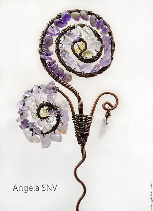 """Заколки ручной работы. Ярмарка Мастеров - ручная работа. Купить Шпилька медная """"Волшебный цветок"""". Handmade. Комбинированный, аметрин, шпилька"""