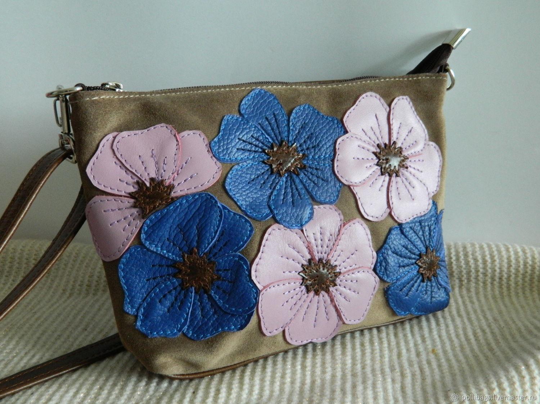Handbags handmade. Livemaster - handmade. Buy Bolso de cuero para mujer.Bolso bandolera. Bolsa bolso de embrague. Anémonas beige.