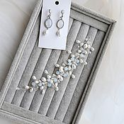 Jewelry sets handmade. Livemaster - original item Wedding set with a moonstone, a twig in her hair and earrings. Handmade.