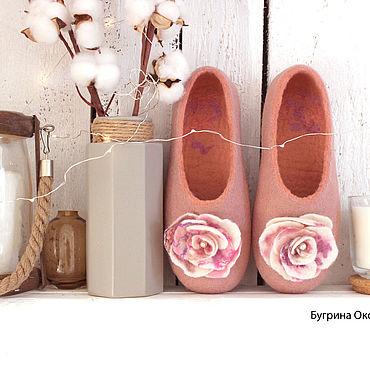 """Обувь ручной работы. Ярмарка Мастеров - ручная работа """"Винтажный розовый"""" валяные женские тапочки. Handmade."""