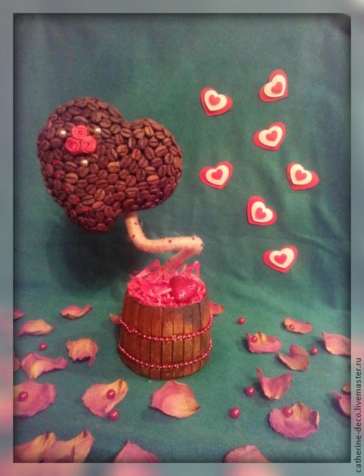 """Деревья ручной работы. Ярмарка Мастеров - ручная работа. Купить Топиарий """"Кофейное Сердце"""". Handmade. Ярко-красный, Топиарии"""