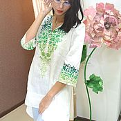 Одежда handmade. Livemaster - original item Tunic of linen embroidered long. Handmade.