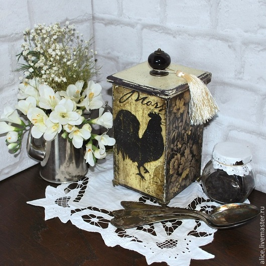 """Кухня ручной работы. Ярмарка Мастеров - ручная работа. Купить короб """"Париж-марсель"""". Handmade. Короб для хранения, прованс, черный"""
