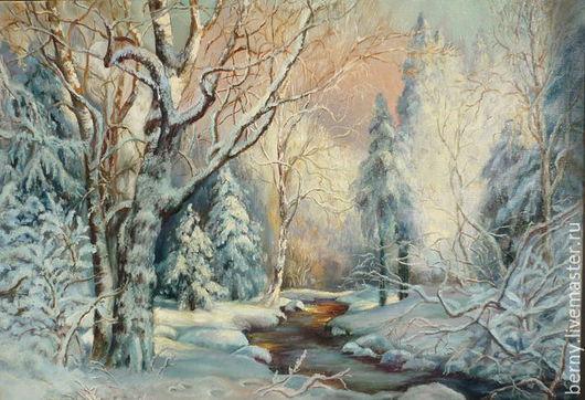 """Пейзаж ручной работы. Ярмарка Мастеров - ручная работа. Купить Картина """"Лесная сказка"""". Handmade. Голубой, сказка, Снег, ель"""