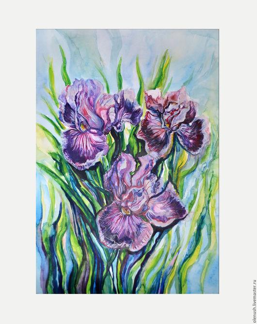 """Картины цветов ручной работы. Ярмарка Мастеров - ручная работа. Купить Картина акварелью """"Ирисы"""". Handmade. Комбинированный, акварель"""
