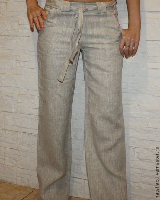 """Брюки, шорты ручной работы. Ярмарка Мастеров - ручная работа. Купить Льняные брюки """"Натуральные"""". Handmade. Однотонный, брюки из льна"""