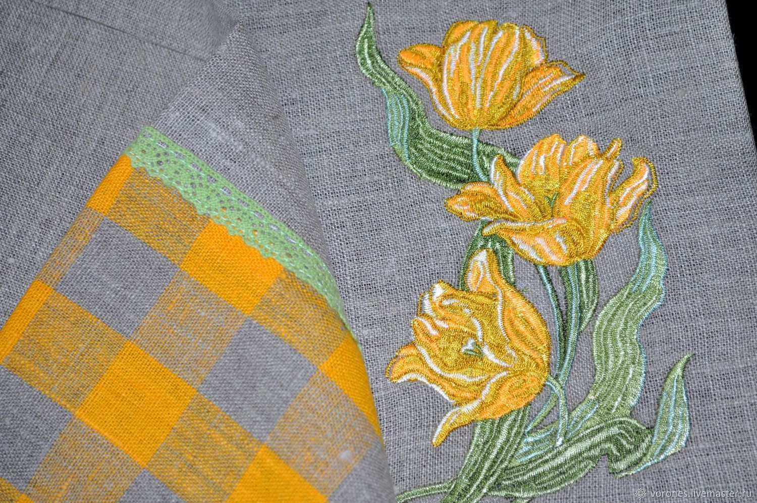 TABLECLOTHS: Path on the table ' Embroidery yellow tulips', Tablecloths, Moscow,  Фото №1