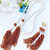 Украшения handmade. Livemaster - original item Sautoir made of natural pearls and garnet