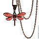 украшения купить стрекоза, стрекоза красная с росписью и ювелирной смолой, подвеска кулон стрекоза на цепочке купить, купить подвеску кулон стрекоза бабочка, кулон подвеска стрекоза