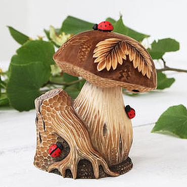 """Для дома и интерьера ручной работы. Ярмарка Мастеров - ручная работа """"Гриб и пень"""" Резьба по дереву. Сувенир для грибника. Handmade."""