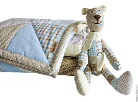 Пледы и одеяла ручной работы. Ярмарка Мастеров - ручная работа. Купить комплект для новорожденного малыша. Handmade. Голубой, лоскутный плед