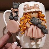 """Комплекты садовой мебели ручной работы. Ярмарка Мастеров - ручная работа Кружка и ложка """"Девочка с мишкой"""". Handmade."""