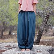 Одежда handmade. Livemaster - original item Womens Harem pants with pockets, Aquamarine Cotton wide-leg Trousers. Handmade.