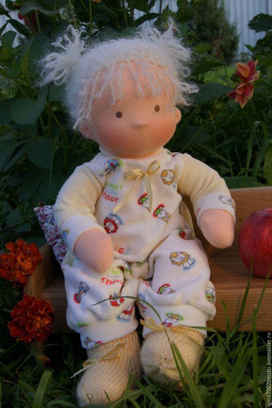 Вальдорфская игрушка ручной работы. Ярмарка Мастеров - ручная работа. Купить Кнопочка- куколка по вальдорфским мотивам. Handmade. Лимонный