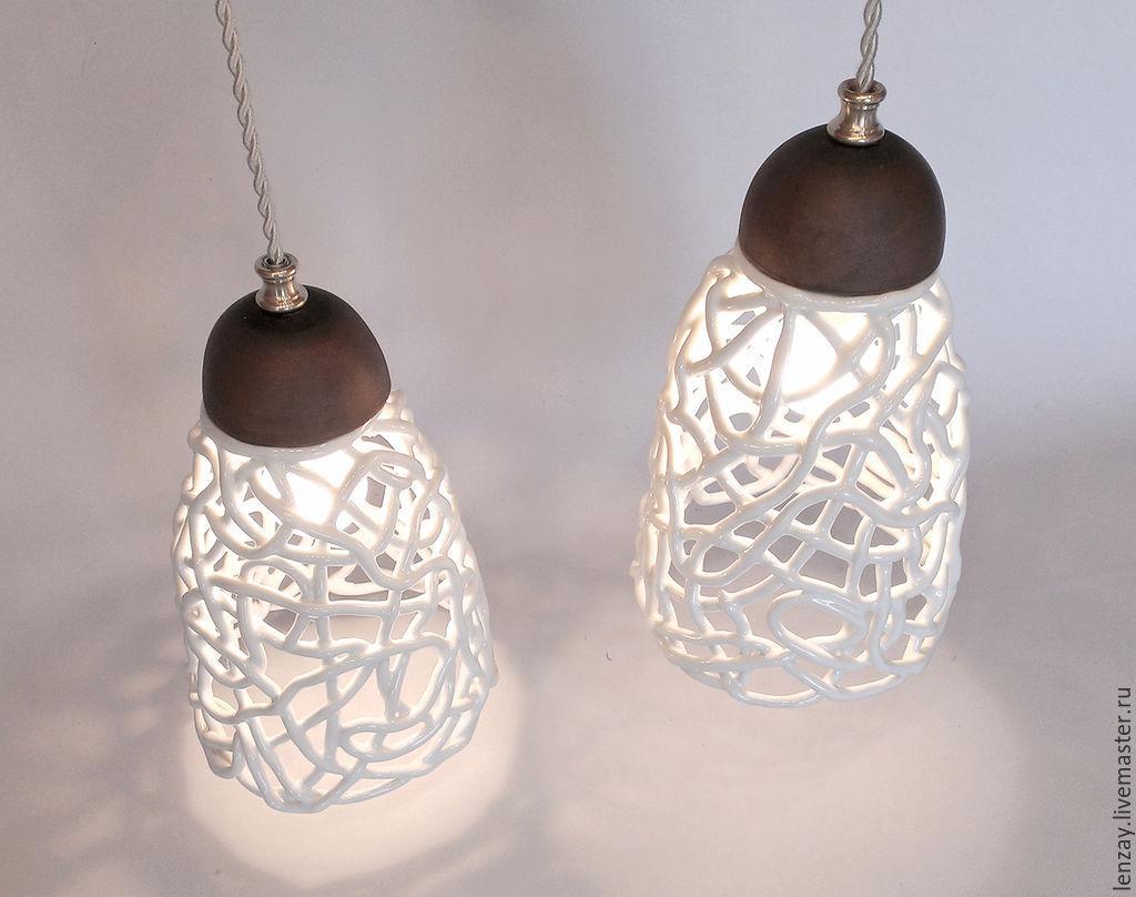 Champagne Foam A Lamp With Two Lamps Shop Online On Livemaster Body Woven Ceramics Elena Zaichenko