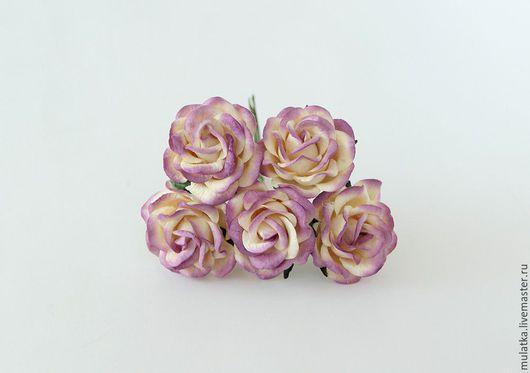 Открытки и скрапбукинг ручной работы. Ярмарка Мастеров - ручная работа. Купить 1144 Maxi розы 4 см с закругленными лепестками - Сиреневый + молочный. Handmade.