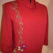 Одежда ручной работы. Ярмарка Мастеров - ручная работа Красный полувер с вышивкой. Handmade.
