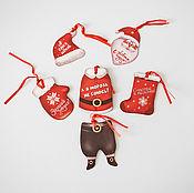 """Материалы для творчества ручной работы. Ярмарка Мастеров - ручная работа Набор бирок """"Санта Клаус"""" Н130. Handmade."""