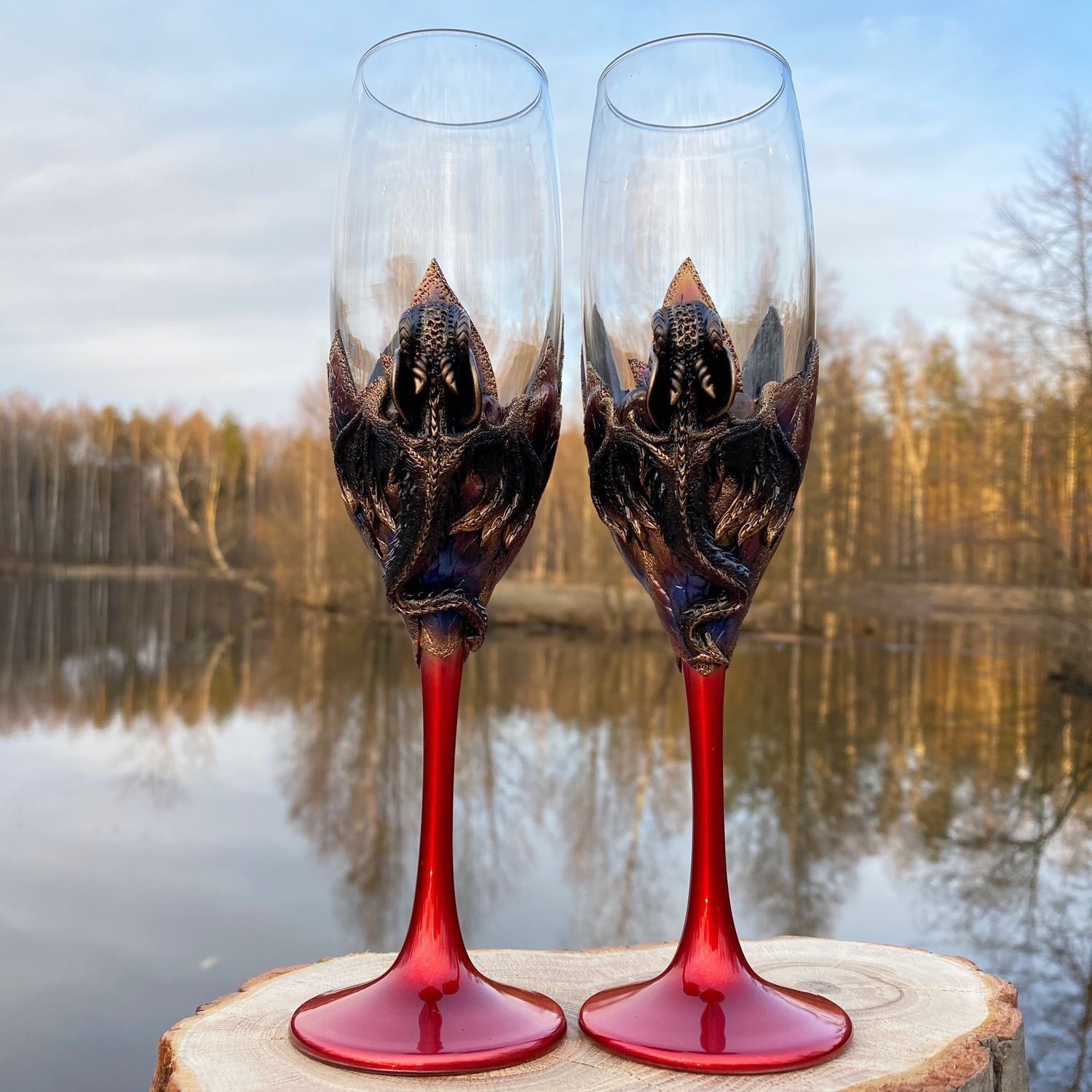 Pair of Red style champagne inserts garnet stones red style, Wine Glasses, St. Petersburg,  Фото №1