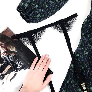 Одежда ручной работы. Ярмарка Мастеров - ручная работа Пояс для чулок с кружевом чёрный (возможны другие цвета). Handmade.